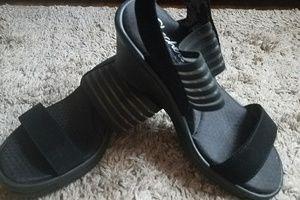 Skechers Blk Sz6 Wedge Sandals